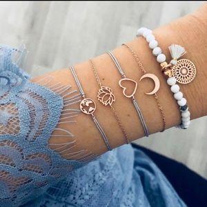 2/$20 5pc Gray Gold Charm Bead Bracelet Set White